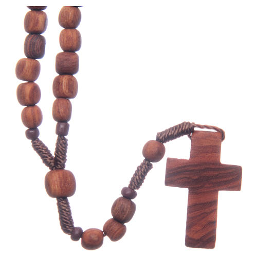 Medjugorje rosary in olive wood with cord 1
