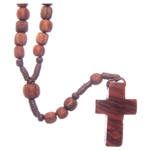 Medjugorje rosary in olive wood with cord 2