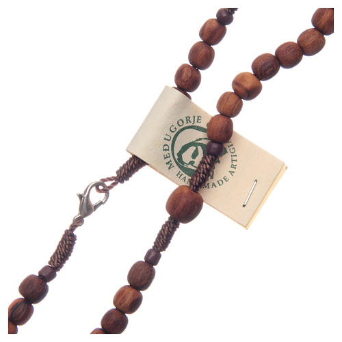 Medjugorje rosary in olive wood with cord 3