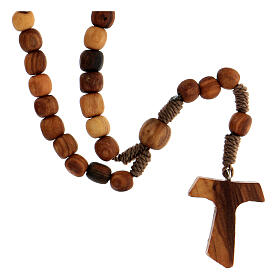 Medjugorje rosary in olive wood with cord and Tau s2