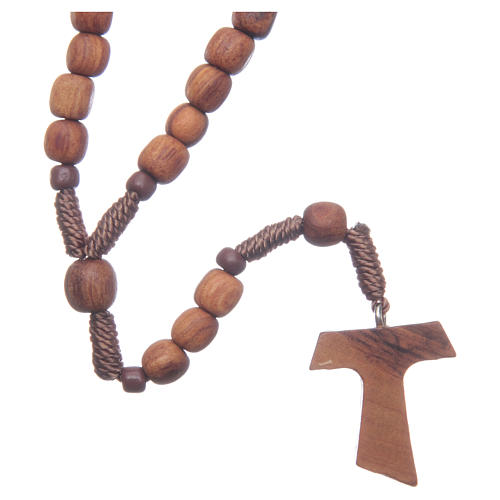 Medjugorje rosary in olive wood with cord and Tau 1