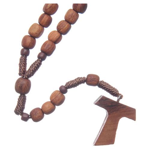 Medjugorje rosary in olive wood with cord and Tau 2