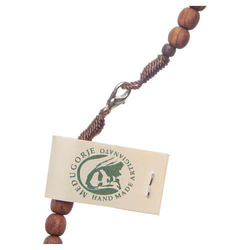 Medjugorje rosary in olive wood with cord and Tau 4