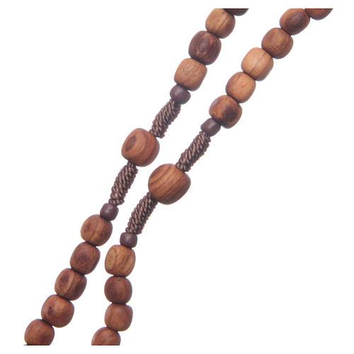 Rosario di Medjugorje legno ulivo corda tau 3