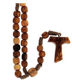 Różaniec z Medziugorie drewno oliwne sznurek tau s1