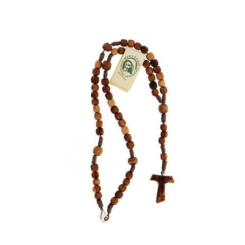 Różaniec z Medziugorie drewno oliwne sznurek tau 4