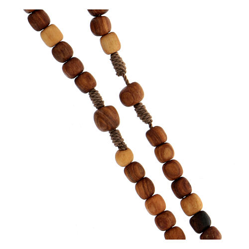 Medjugorje rosary in olive wood with cord and Tau 3