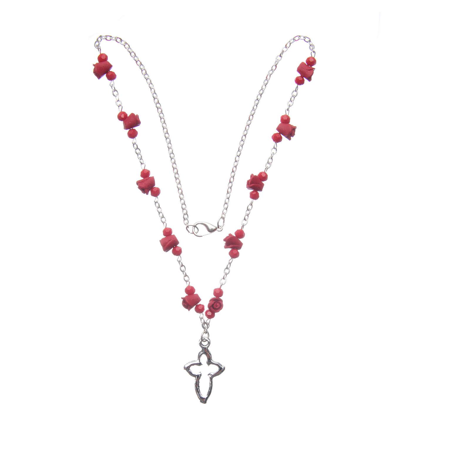 Collar rosario Medjugorje rosas cerámica cuentas cristal rojo 4