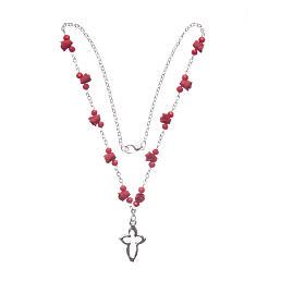 Collier chapelet Medjugorje roses céramique grains cristal rouge s3