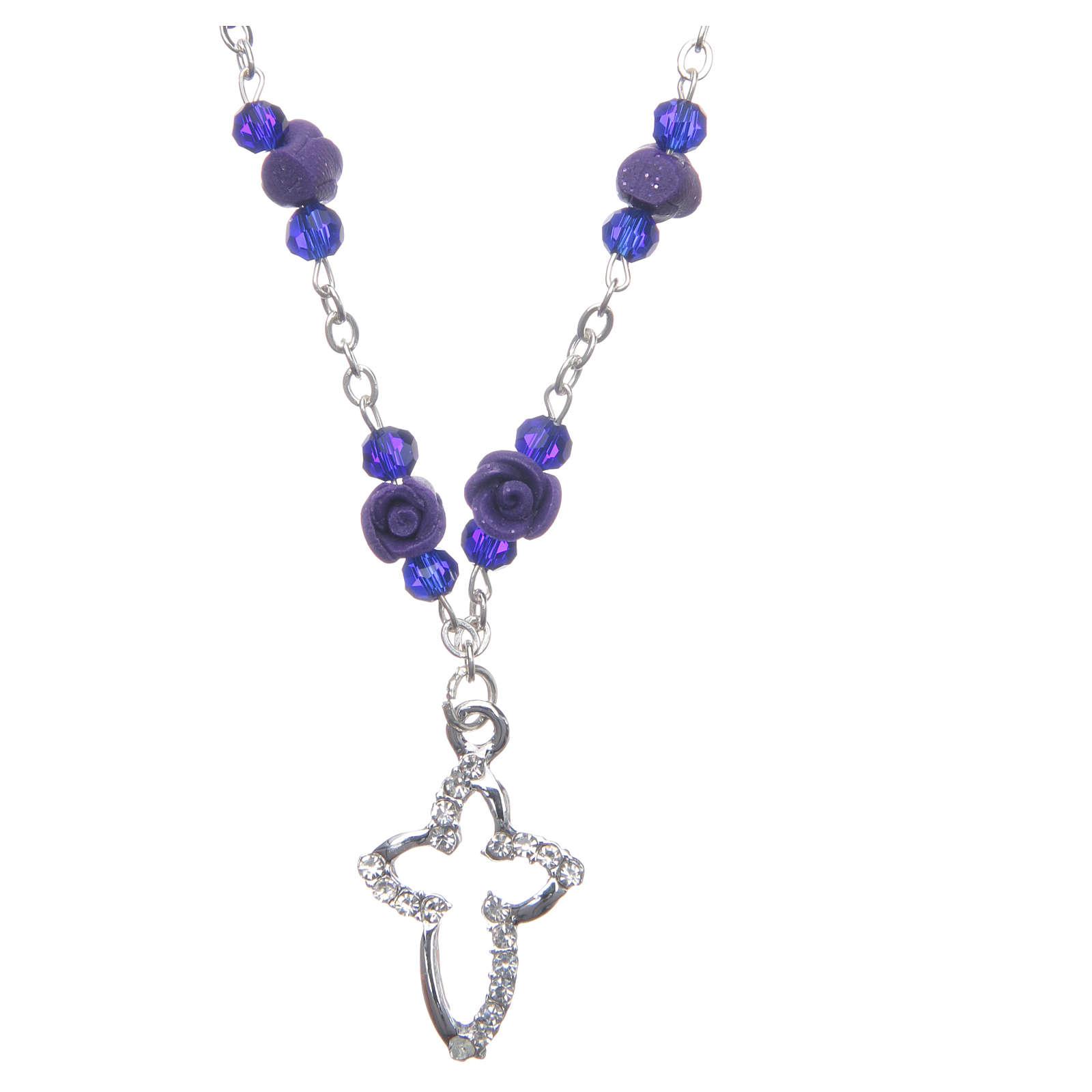 Collier chapelet Medjugorje roses céramique grains cristal violet 4