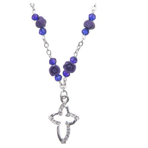 Collier chapelet Medjugorje roses céramique grains cristal violet 1
