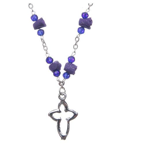 Collier chapelet Medjugorje roses céramique grains cristal violet 2