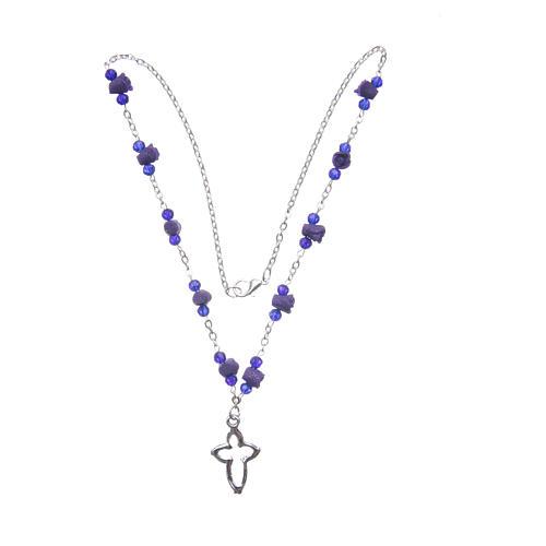 Collier chapelet Medjugorje roses céramique grains cristal violet 3