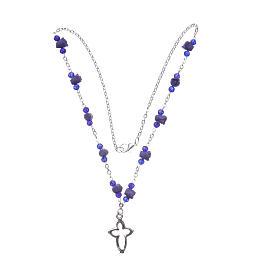 Collana rosario Medjugorje rose ceramica grani cristallo viola s3