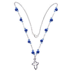 Medjugorje Rosary necklace with ceramic roses and grains in blue crystal s3
