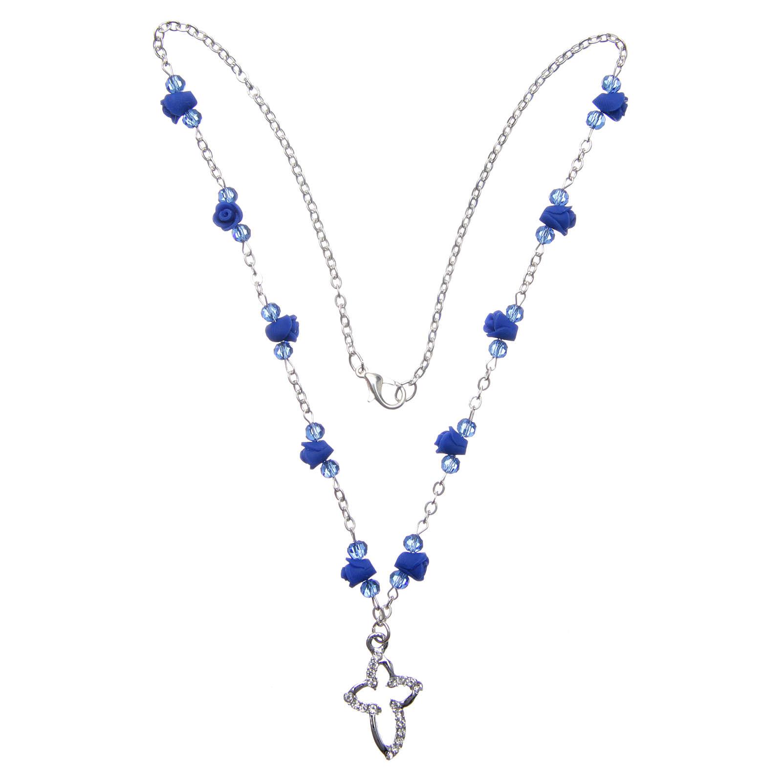 Collana rosario Medjugorje rose ceramica grani cristallo blu 4