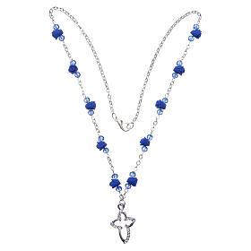 Collana rosario Medjugorje rose ceramica grani cristallo blu s3