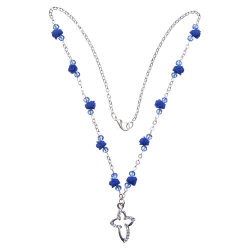 Collana rosario Medjugorje rose ceramica grani cristallo blu 3