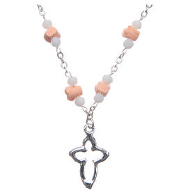 Collana rosario Medjugorje rose ceramica grani cristallo rosa