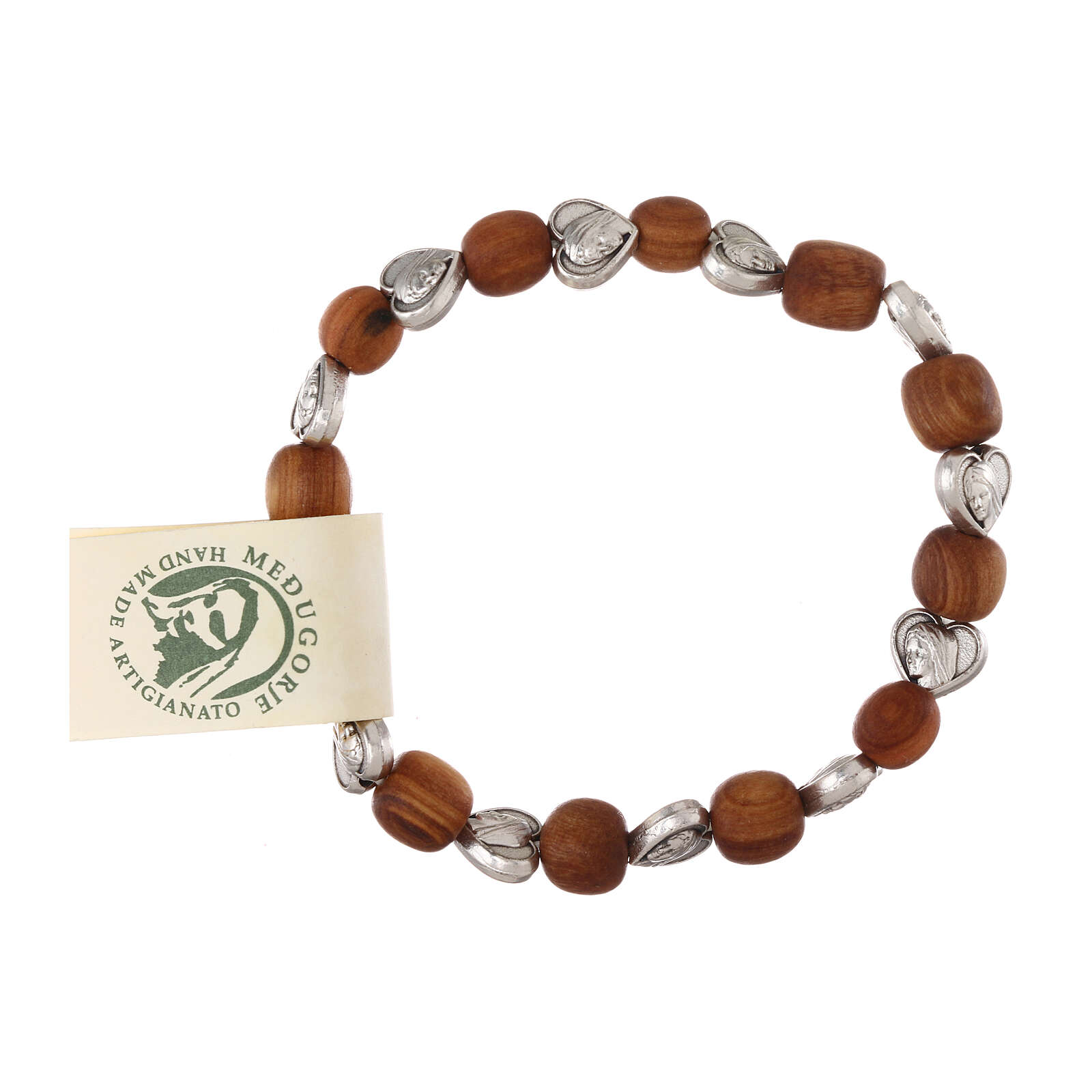 Elastic Medjugorje bracelet with heart shaped olive wood grains 4