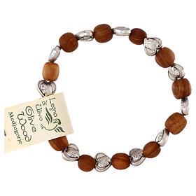 Elastic Medjugorje bracelet with heart shaped olive wood grains s2