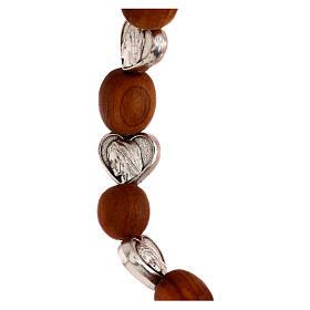 Elastic Medjugorje bracelet with heart shaped olive wood grains s3