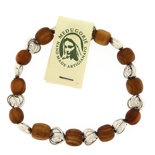 Elastic Medjugorje bracelet with heart shaped olive wood grains 2