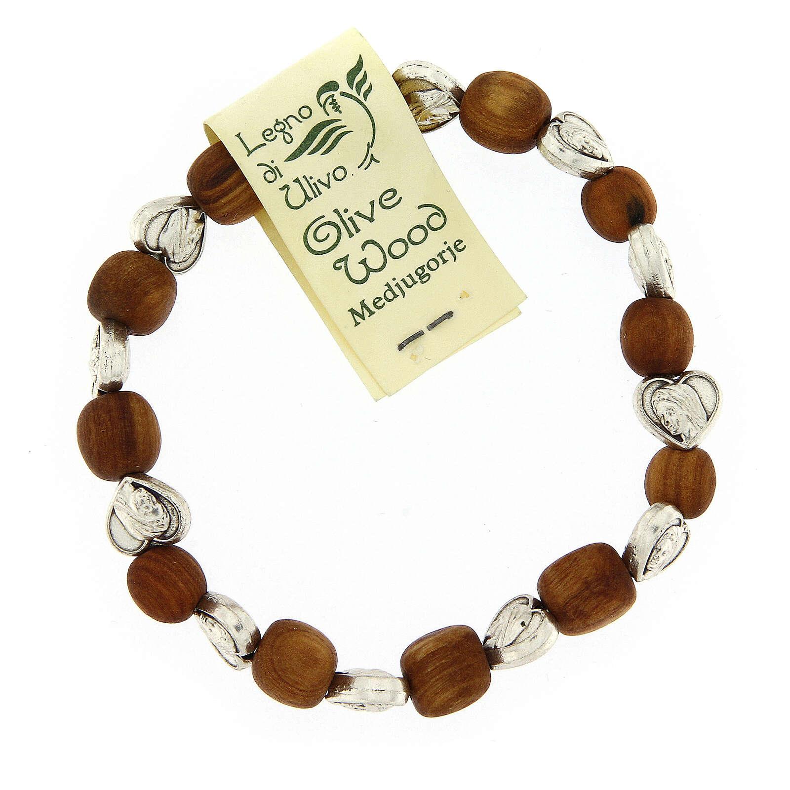 Bracelet Medjugorje élastique olivier coeurs 4
