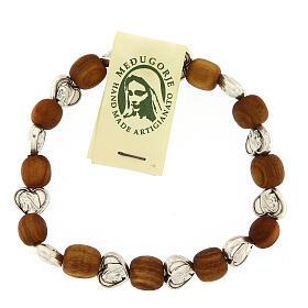Bracelet Medjugorje élastique olivier coeurs s2