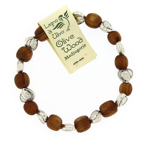Bransoleta Medziugorie elastyczna drewno oliwne serca 1