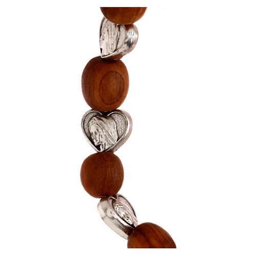 Elastic Medjugorje bracelet with heart shaped olive wood grains 3