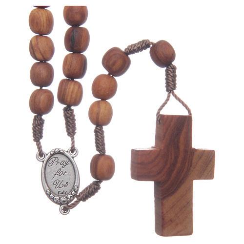 Rosenkranz aus Medjugorje mit ovalen Olivenholzperlen und Benediktusmedaillen
