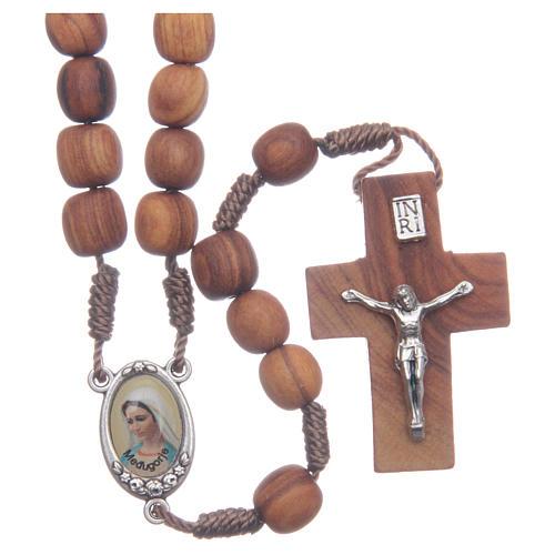 Medjugorje olive wood rosary oval medalets of Saint Benedict 1
