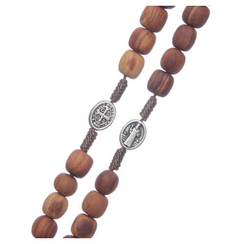 Medjugorje olive wood rosary oval medalets of Saint Benedict 3