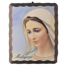 Cuadro madera maciza Virgen de Medjugorje litografía s1