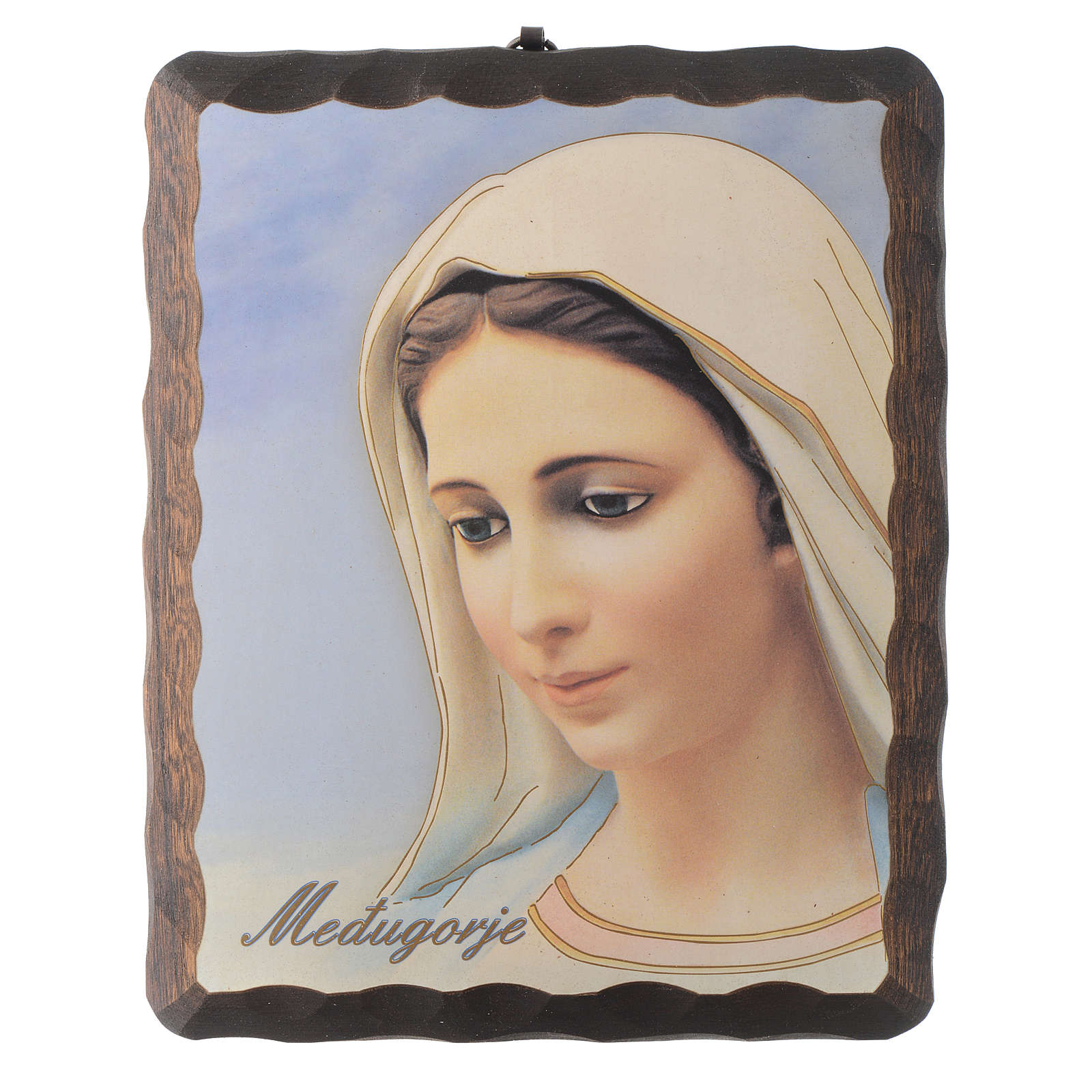 Our Lady of Medjugorje lithography in solid wood painting 4
