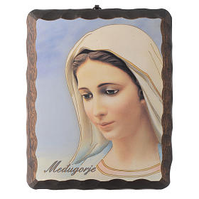 Our Lady of Medjugorje lithography in solid wood painting s1