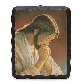 Quadrinho madeira maciça Jesus em oração litografia s1