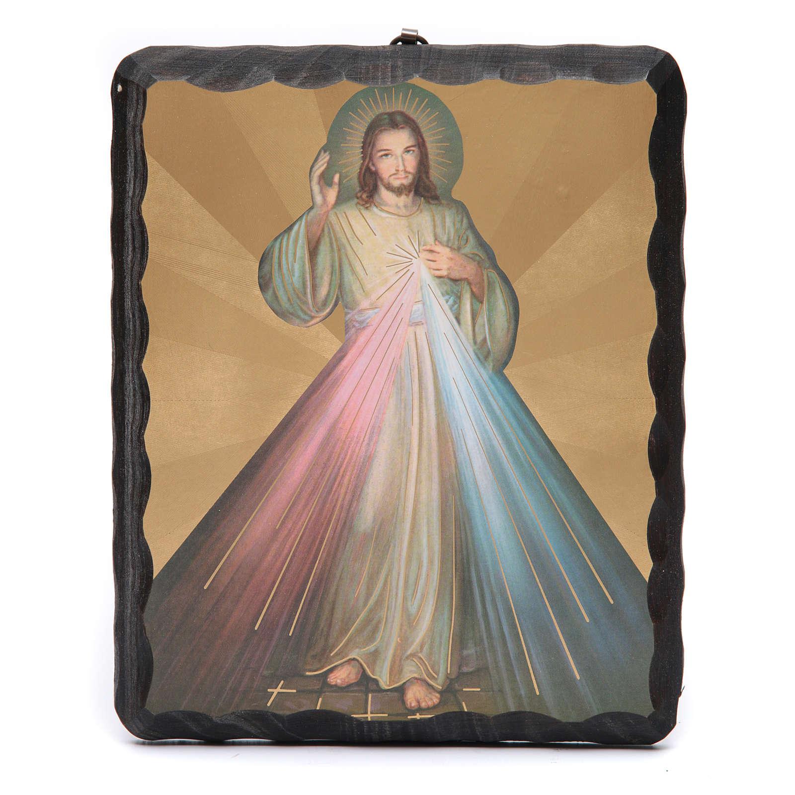 Quadretto legno massello Gesù Misericordioso litografia 4