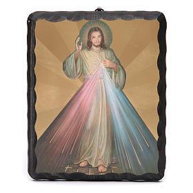 Quadretto legno massello Gesù Misericordioso litografia s1