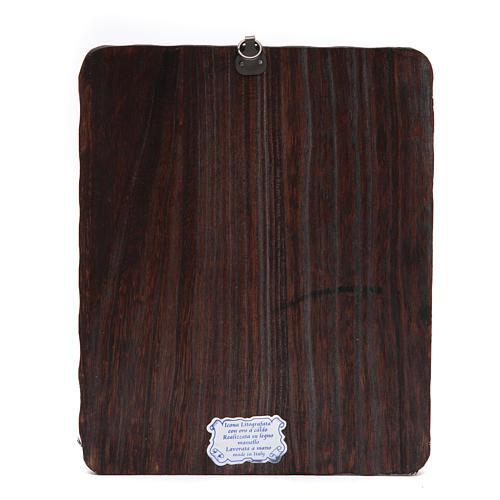 Quadrinho madeira maciça Cristo Misericordioso litografia 2
