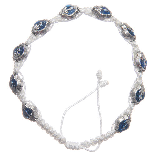 Braccialetto Medjugorje smalti blu corda bianca 1