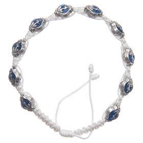 Bransoletka Medziugorie emalie niebieskie sznurek biały s1