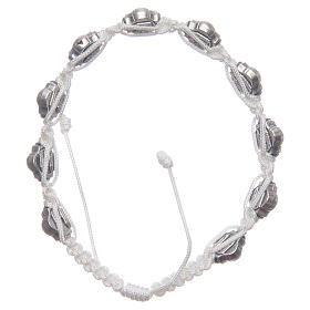 Bransoletka Medziugorie emalie niebieskie sznurek biały s2