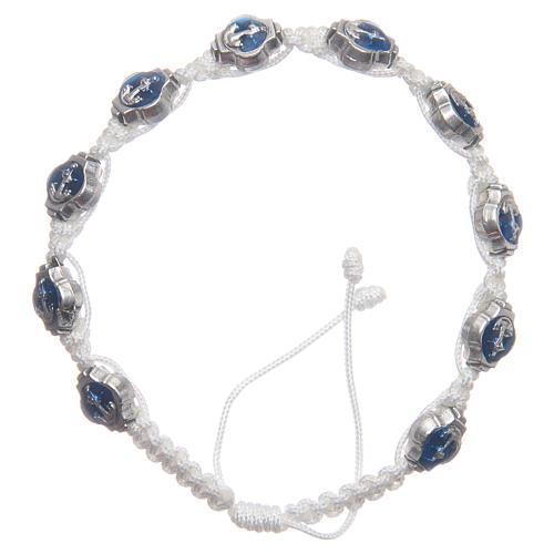 Bransoletka Medziugorie emalie niebieskie sznurek biały 1