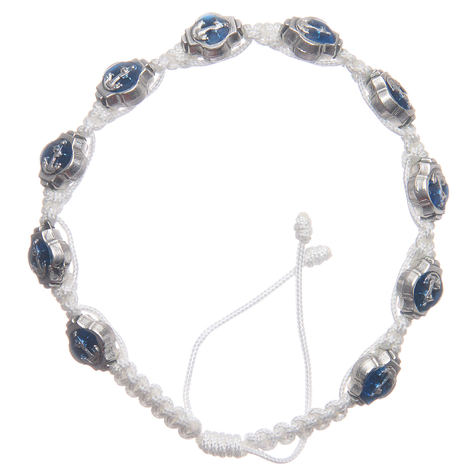 Pulseira Medjugorje esmaltes azul escuro corda branca 4