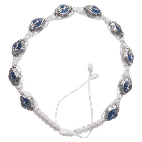 Pulseira Medjugorje esmaltes azul escuro corda branca 1