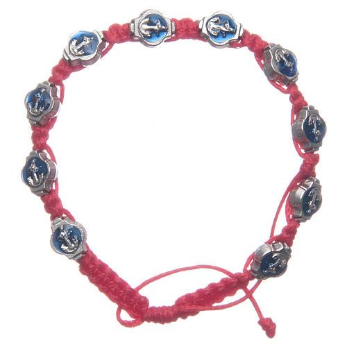 Pulsera Medjugorje esmaltes azules cuerda roja 1