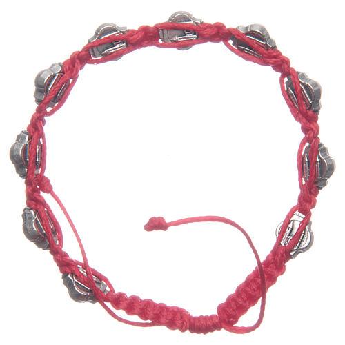 Pulsera Medjugorje esmaltes azules cuerda roja 2