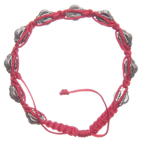 Braccialetto Medjugorje smalti blu corda rossa 2